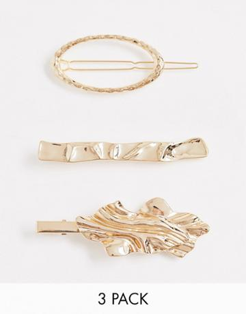 Asos Design Pack Of 3 Hair Clips In Mixed Crushed And Textured Designs In Gold Tone - Gold