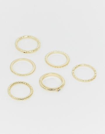Asos Design Pack Of 6 Rings In Engraved Rope And Twisted Designs In Gold Tone - Gold