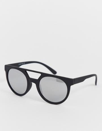 Only & Sons Square Sunglasses With Brow Bar - Black
