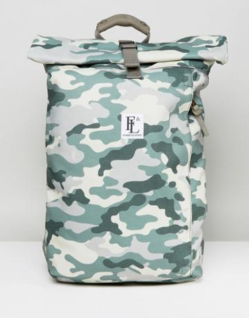 Forbes & Lewis Rollie Rolltop Backpack In Camo - Green