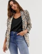 Liquorish Blazer In Snake Print - Multi