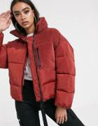 Asos Design Padded Jacket With Cord Patching In Red - Yellow