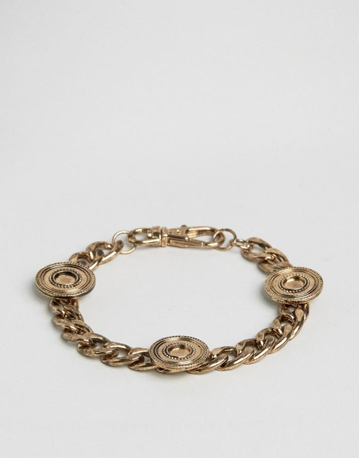 Asos Coin Bracelet In Gold - Gold