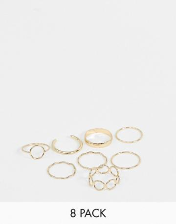 Asos Design Pack Of 8 Rings With Minimal Circle Designs In Gold - Gold