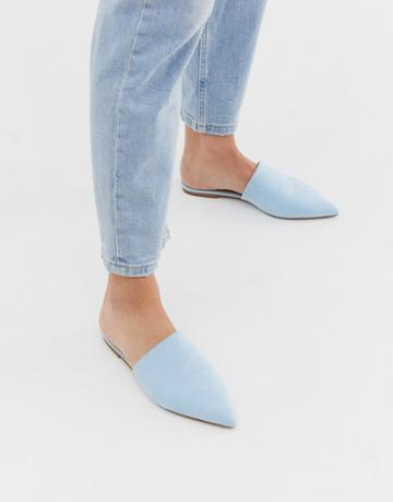 Asos Design Lorne Pointed Mules In Blue - Blue