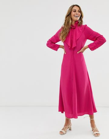 & Other Stories Maxi Dress With Button And Neck Detail In Fuschia