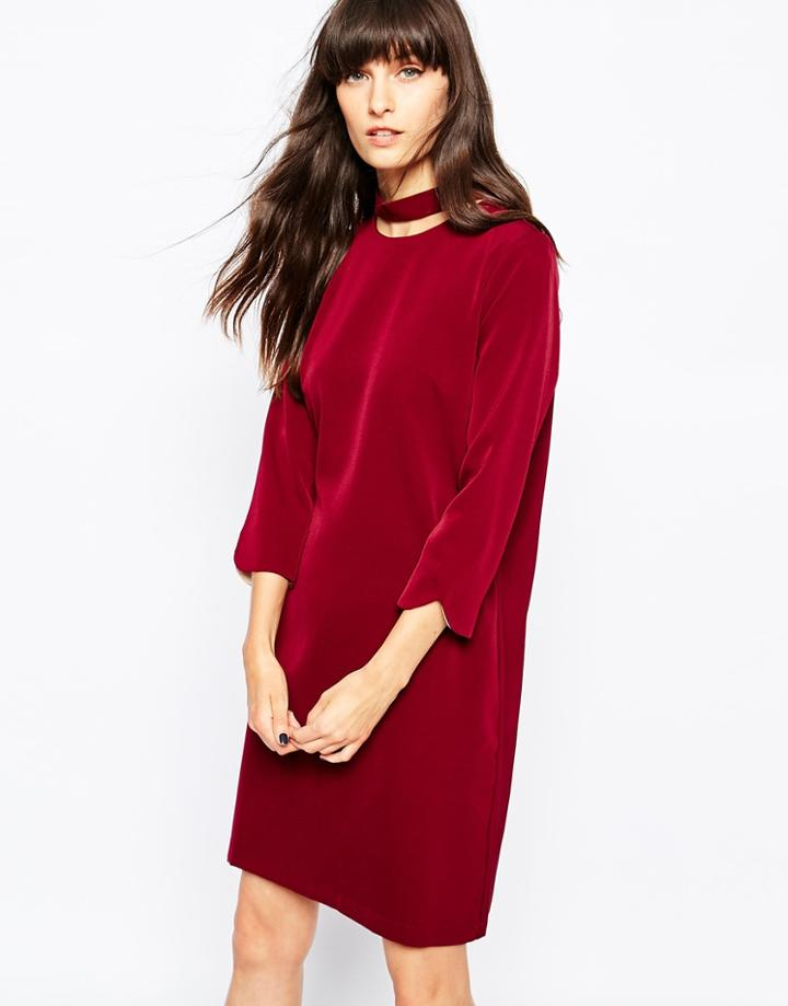 Paisie Cut Out Collar Dress - Berry