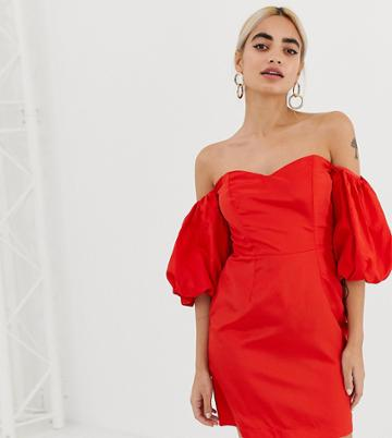 Miss Selfridge Petite Bardot Puff Sleeve Dress-red