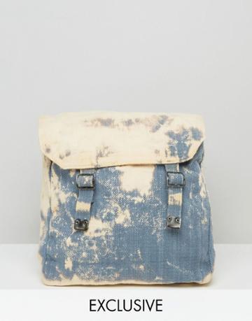 Reclaimed Vintage Bleach Washed Backpack - Blue