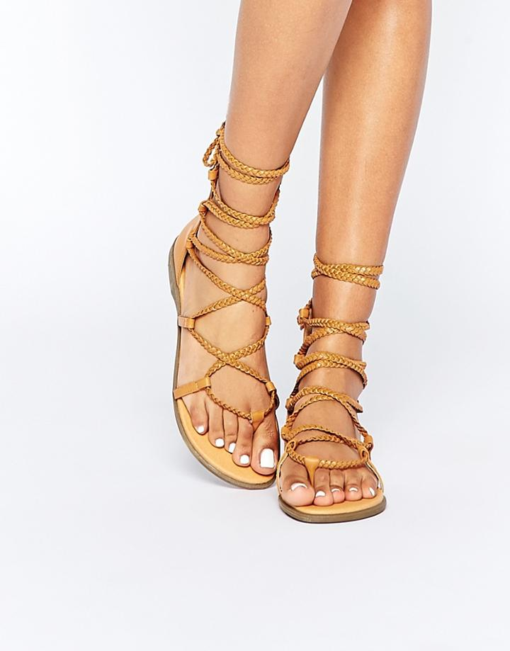 Truffle Collection Beryl Tie Plaited Flat Sandals - Tan Pu