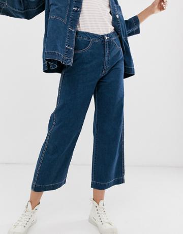 Weekday Wide Leg Cropped Jeans In Deep Blue - Blue