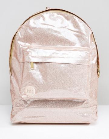 Mi-pac Classic Backpack In Champagne Glitter - Pink