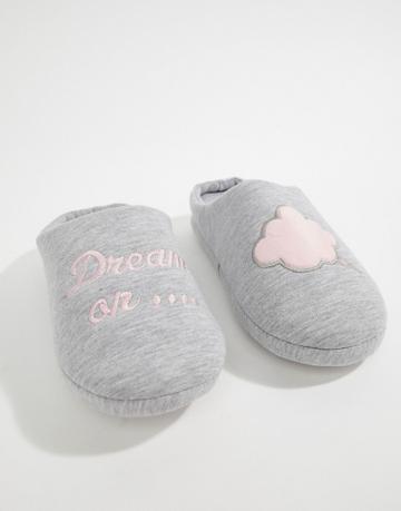 Asos Night Cap Dream On Slippers - Gray