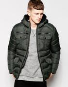 Brave Soul Padded Jacket With Hood - Green