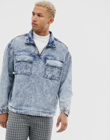 Bershka Overhead Denim Jacket With Front Pockets In Washed Blue - Blue