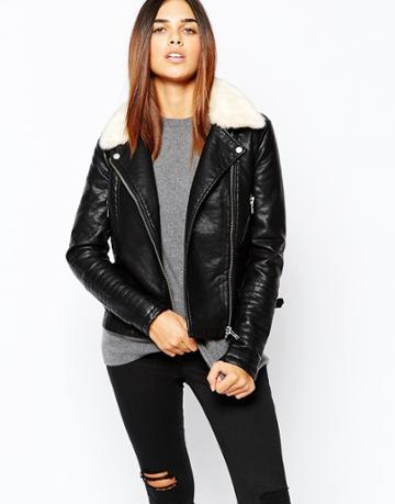 Warehouse Fur Collar Textured Pu Biker Jacket - Black