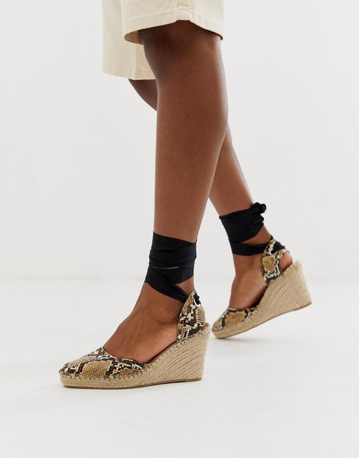 Asos Design Jaylen Espadrille Wedges In Snake-multi
