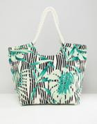 South Beach Palm Print Beach Bag - Multi