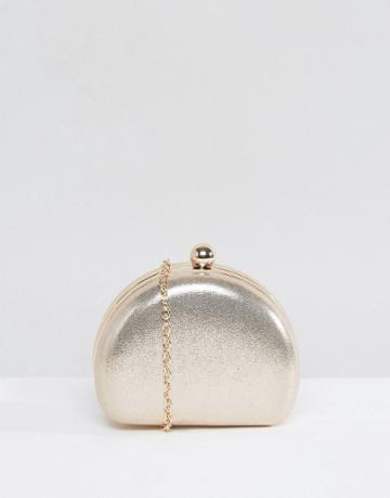 Chi Chi London Glitter Clutch Bag With Ball Clasp - Silver