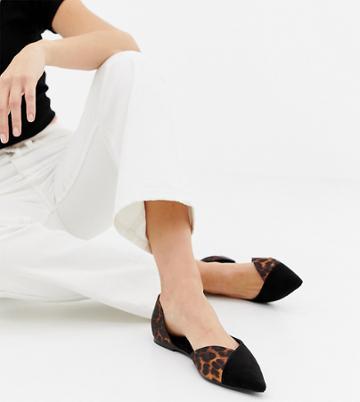 Asos Design Wide Fit Verve D'orsay Point Ballet Flats - Black