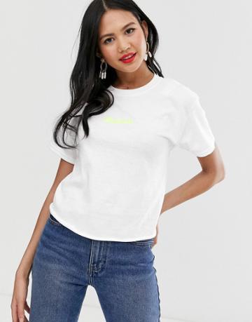 Miss Selfridge T-shirt With Slogan In White - White