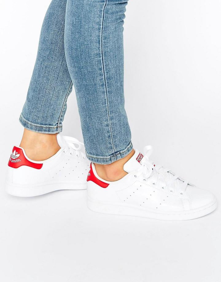 Adidas Originals White And Red Stan Smith Sneakers - White