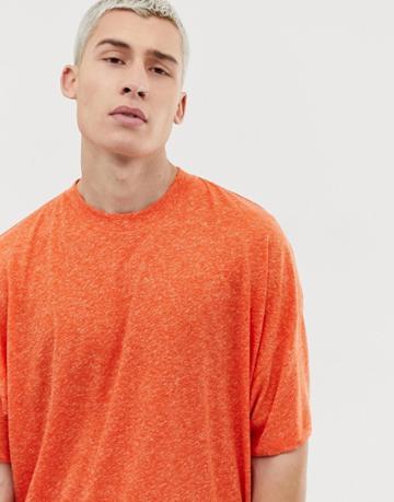Asos Design Oversized T-shirt With Side Vents In Linen Mix In Orange - Orange
