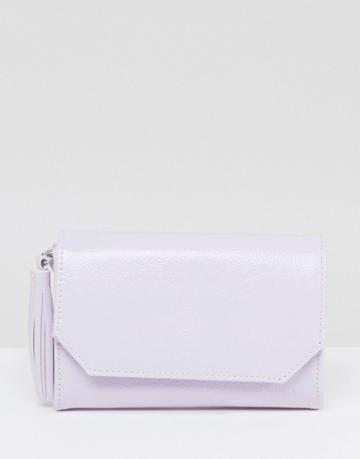 Asos Patent Foldover Tassel Cross Body Bag - Purple