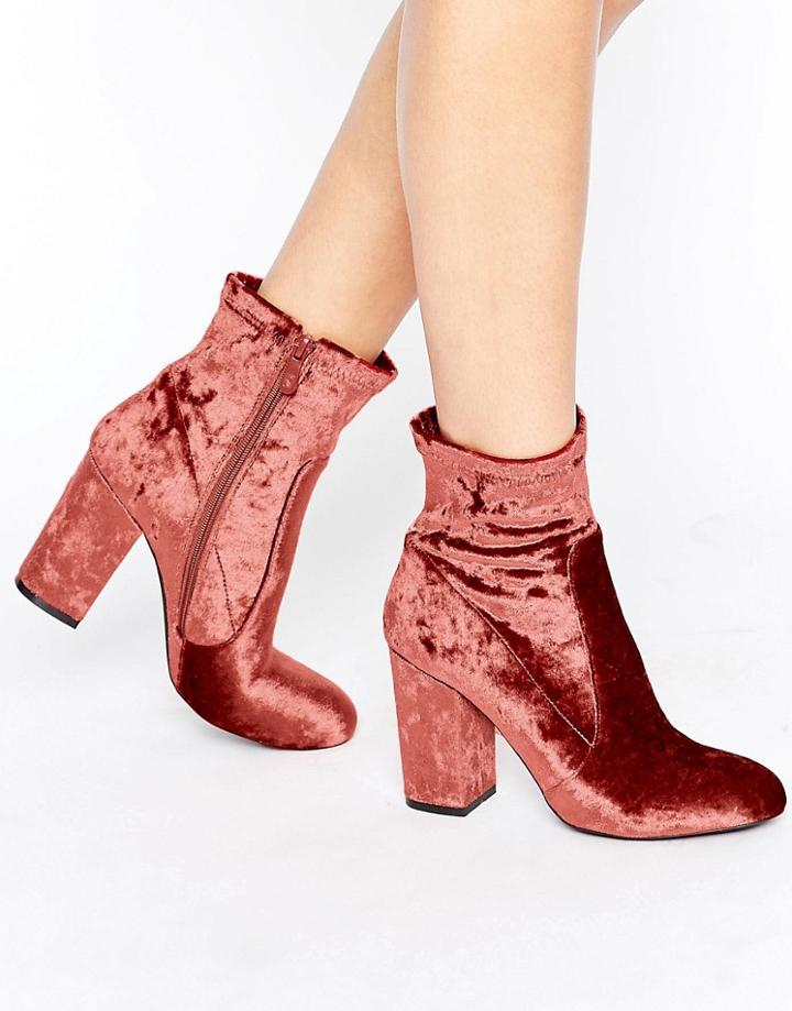Public Desire Lila Pink Velvet Heeled Ankle Boots - Pink