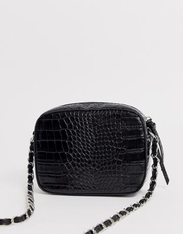 Stradivarius Moc Croc Cross Body Bag In Black - Black