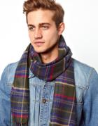 Asos Woven Scarf With Plaid Design - Green