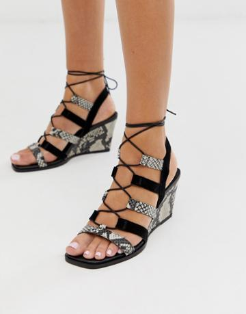 Asos Design Hansel Suede Mix Mid Heeled Wedges In Snake And Black-multi