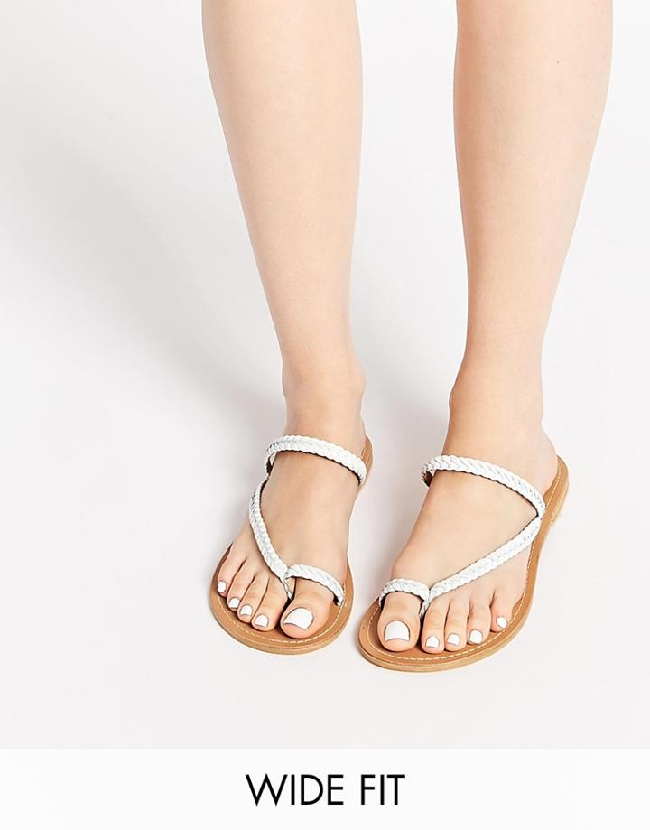 Asos Forecast Wide Fit Leather Flat Sandals - White