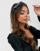 Asos Design Knot Headband In Animal Polka Dot - Black