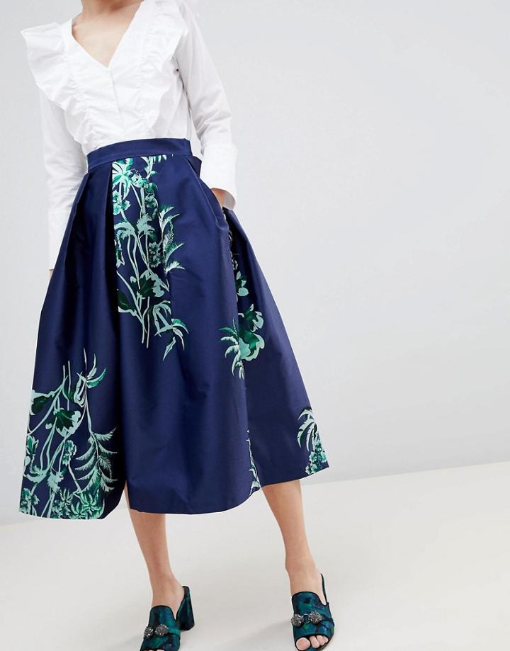 Closet London Midi Skirt - Navy