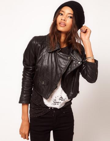 Asos Cropped Leather Biker Jacket With Quilted Collar