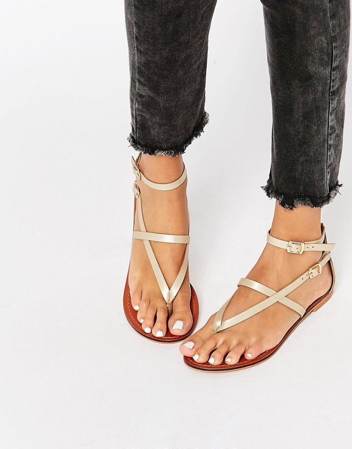 Asos Forceful Leather Flat Sandals - Champagne Gold