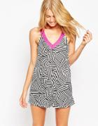 South Beach Mini Tank Beach Dress - Mono Geo Print