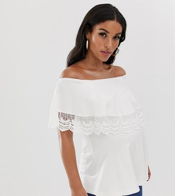 Asos Design Maternity Nursing Bardot Top With Crochet Trim - Cream