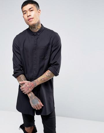 Asos Regular Fit Shirt In Longline In Black - Black