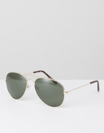 New Look Aviator Sunglasses In Gold - Gold
