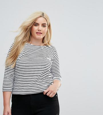 New Look Curve Stripe Long Sleeved Tee - Black