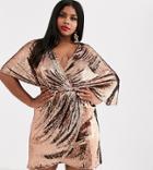 Asos Design Curve Sheet Sequin Mini Dress With Asymmetric Kimono Sleeve