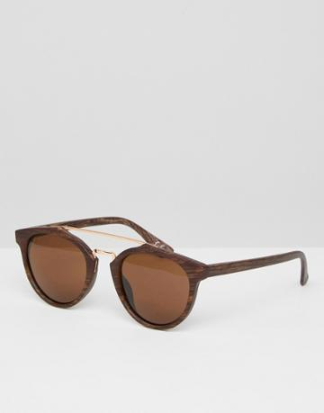 Asos Round Sunglasses In Wood Effect Frame With Brown Lens - Brown