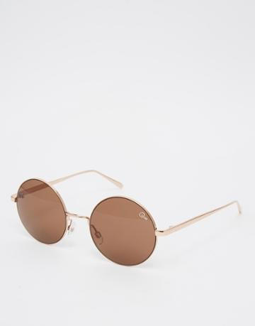 Quay Australia Electric Dreams Round Sunglasses - Gold