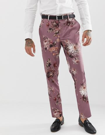Asos Design Wedding Skinny Suit Pants With Pink Floral Print - Pink