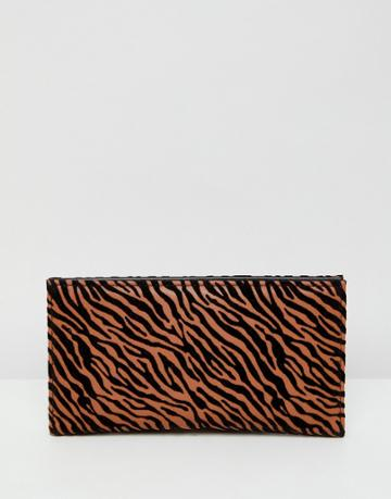 Asos Design Foldover Purse In Tiger Print - Multi