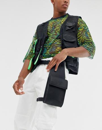 Asos Design Faux Leather Leg Harness Bag In Black Pebble Grain - Black
