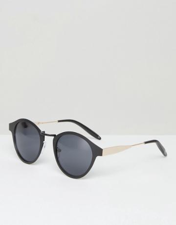 Asos Slim Retro Sunglasses In Black - Black