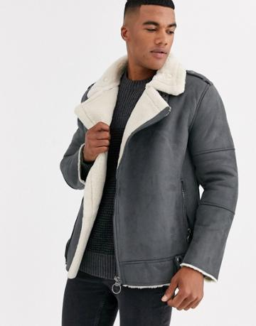 Only & Sons Faux Suede Aviator Jacket In Gray